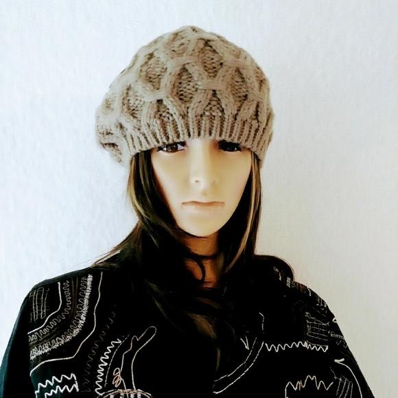 Mocha Slouchy Chunky Knit Beret Hat e0878ee67a2